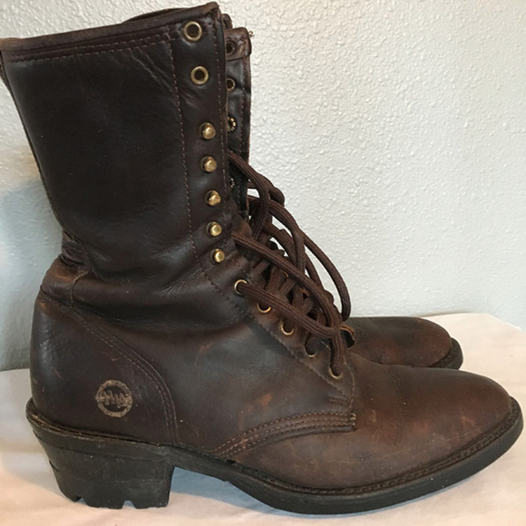 7c9add4235c SALE Double HH brown leather logger boots mens